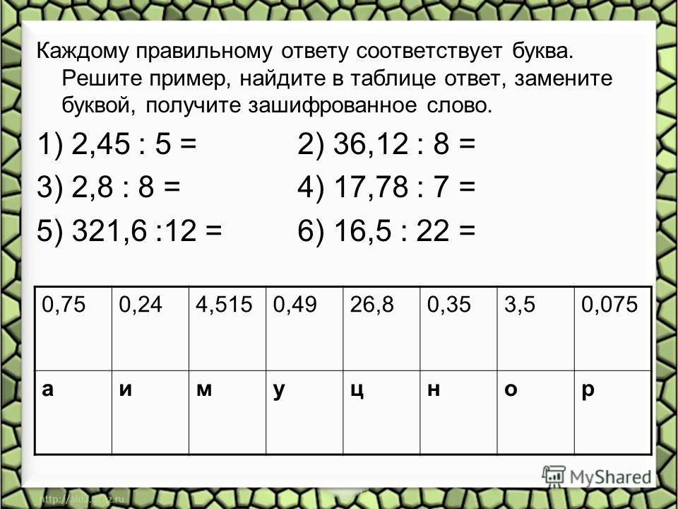 Каждому правильному ответу соответствует буква. Решите пример, найдите в таблице ответ, замените буквой, получите зашифрованное слово. 1) 2,45 : 5 = 2) 36,12 : 8 = 3) 2,8 : 8 = 4) 17,78 : 7 = 5) 321,6 :12 = 6) 16,5 : 22 = 0,750,244,5150,4926,80,353,5