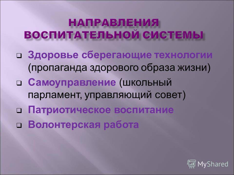 Здоровье сберегающие технологии (пропаганда здорового образа жизни) Самоуправление (школьный парламент, управляющий совет) Патриотическое воспитание Волонтерская работа