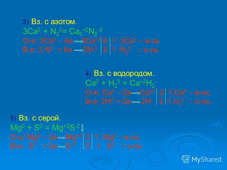 3) 3) Вз. с азотом. 3Ca 0 + N 2 0 = Ca 3 +2 N 2 -3 О-е: 3Ca 0 – 6e 3Ca +2 6 1 3Ca 0 – в-ль В-е: 2 N 0 + 6e 2N -3 6 1 N 2 0 – о-ль 5) 5) Вз. с серой. Mg 0 + S 0 = Mg +2 S -2 О-е: Mg 0 – 2e Mg +2 2 1 Mg 0 – в-ль В-е: S 0 + 2e S -2 2 1 S 0 – о-ль 4) 4)