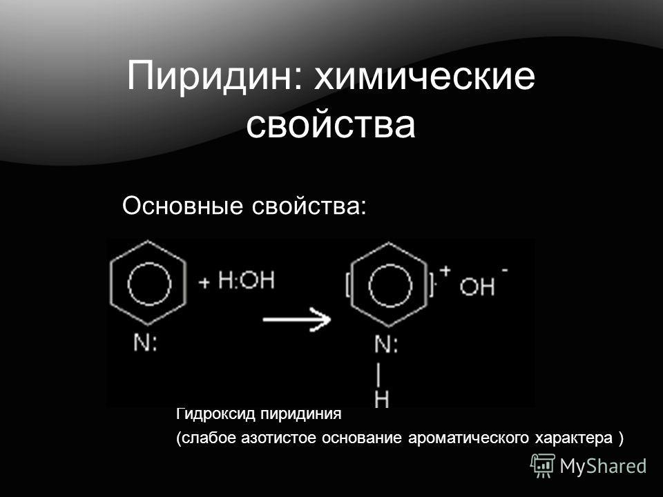 Пиридин: химические свойства Гидроксид пиридиния (слабое азотистое основание ароматического характера ) Основные свойства: