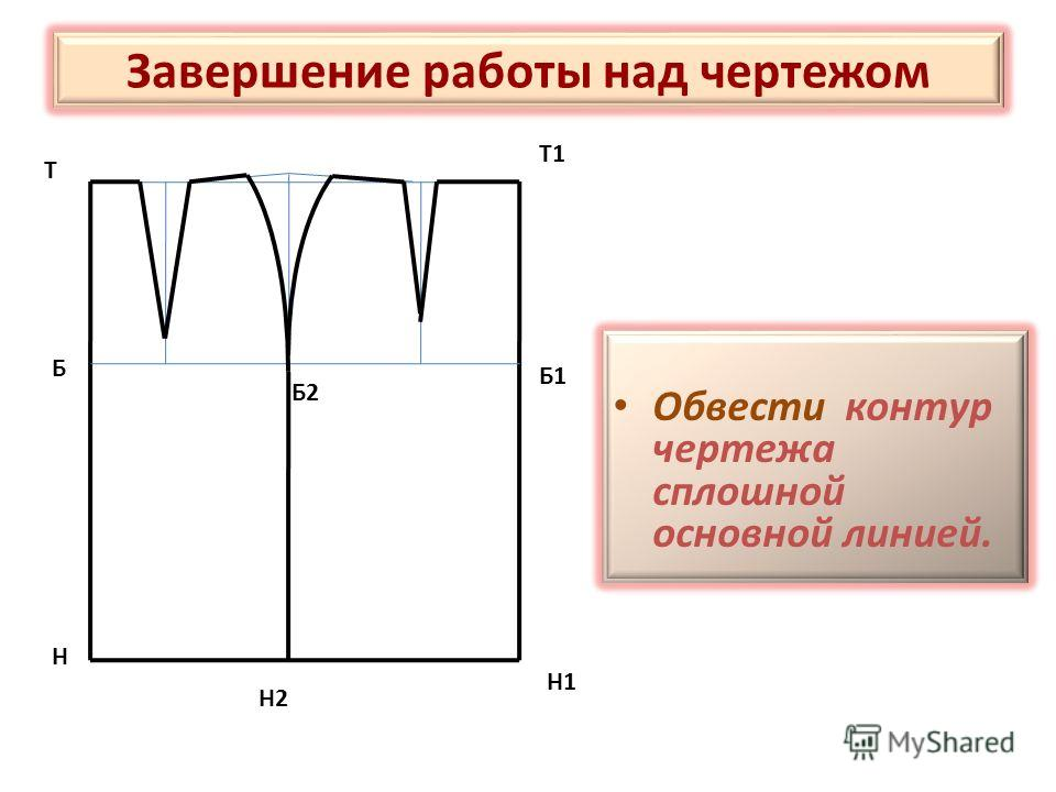 Завершение работы над чертежом Обвести контур чертежа сплошной основной линией. Т Н Т1 Н1 Н2 Б Б2 Б1