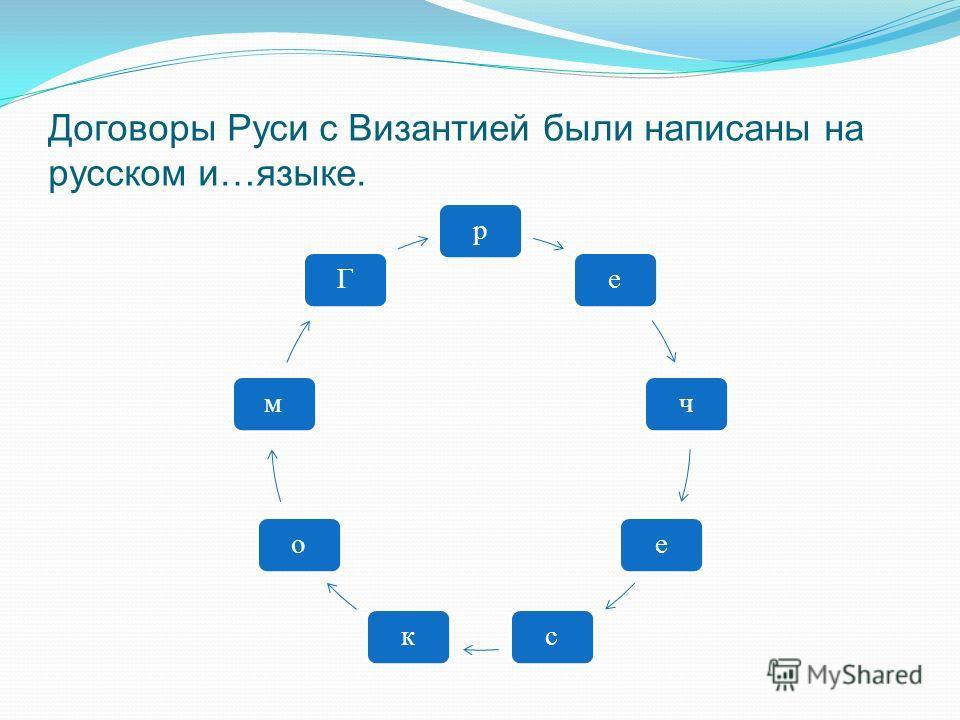 Договоры Руси с Византией были написаны на русском и…языке. реческомГ