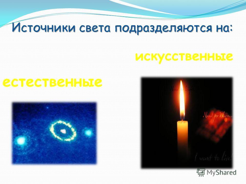 естественные искусственные Источники света подразделяются на: