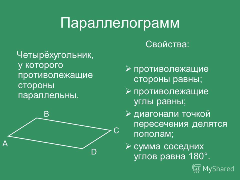 Параллелограмм Четырёхугольник, у которого противолежащие стороны параллельны. Свойства: противолежащие стороны равны; противолежащие углы равны; диагонали точкой пересечения делятся пополам; сумма соседних углов равна 180°. А D C B