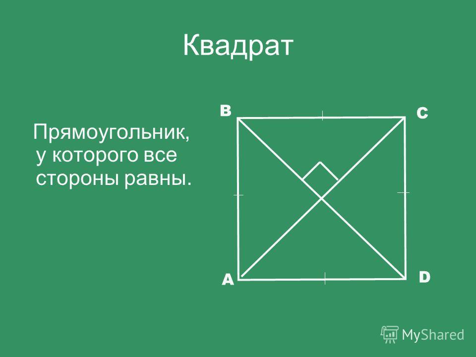 Квадрат Прямоугольник, у которого все стороны равны. D A B C