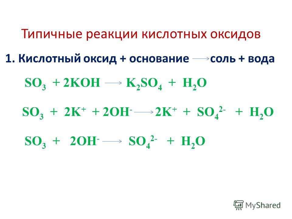 Типичные реакции кислотных оксидов 1. Кислотный оксид + основание соль + вода SO 3 + 2KOH K 2 SO 4 + H 2 O SO 3 + 2K + + 2OH - 2K + + SO 4 2- + H 2 O SO 3 + 2OH - SO 4 2- + H 2 O