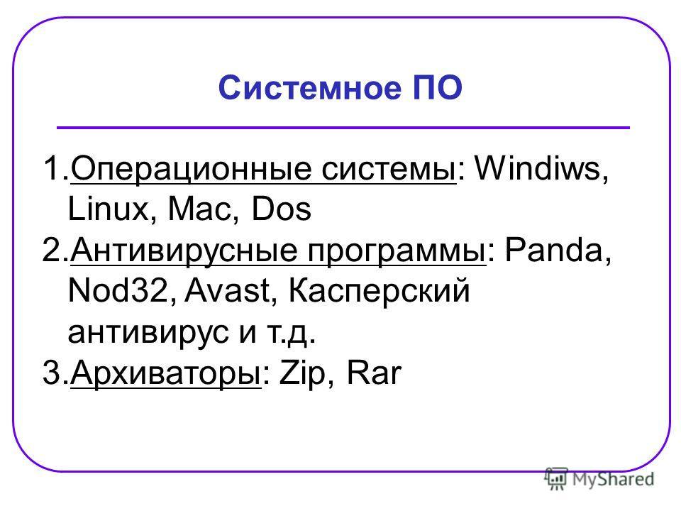 Системное ПО 1.Операционные системы: Windiws, Linux, Mac, Dos 2.Антивирусные программы: Panda, Nod32, Avast, Касперский антивирус и т.д. 3.Архиваторы: Zip, Rar
