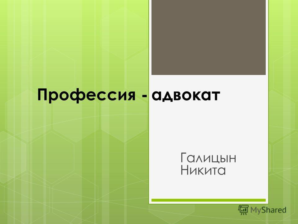 Профессия - адвокат Галицын Никита