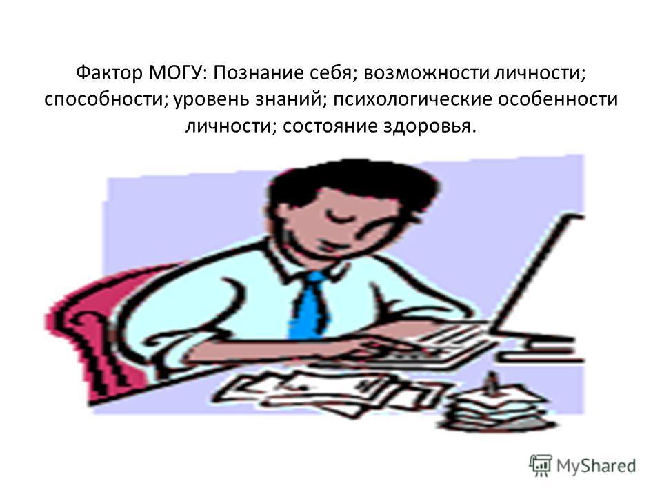 Фактор МОГУ: Познание себя; возможности личности; способности; уровень знаний; психологические особенности личности; состояние здоровья.