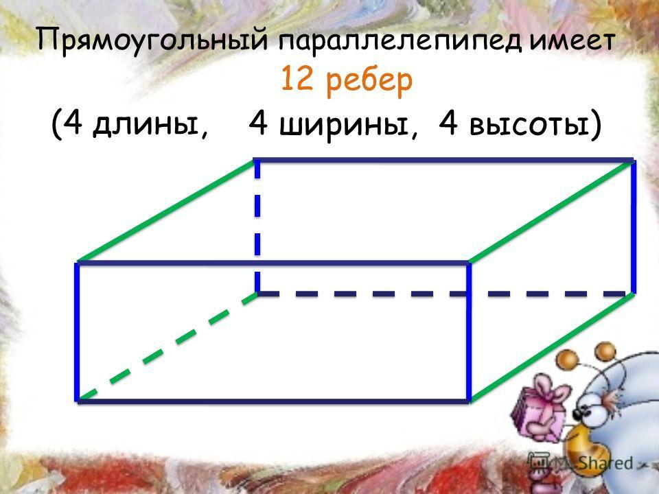 Прямоугольный параллелепипед имеет (4 длины, 4 ширины, 4 высоты) 12 ребер