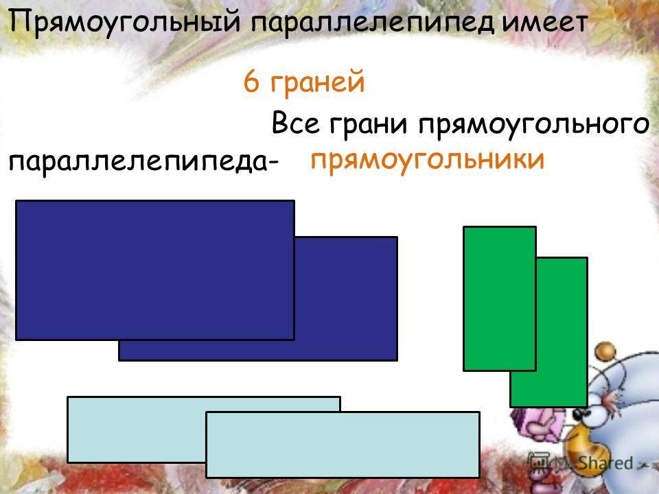Все грани прямоугольного параллелепипеда- Прямоугольный параллелепипед имеет 6 граней прямоугольники