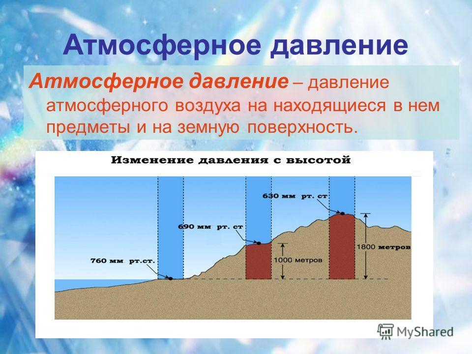 Атмосферное давление Атмосферное давление – давление атмосферного воздуха на находящиеся в нем предметы и на земную поверхность.