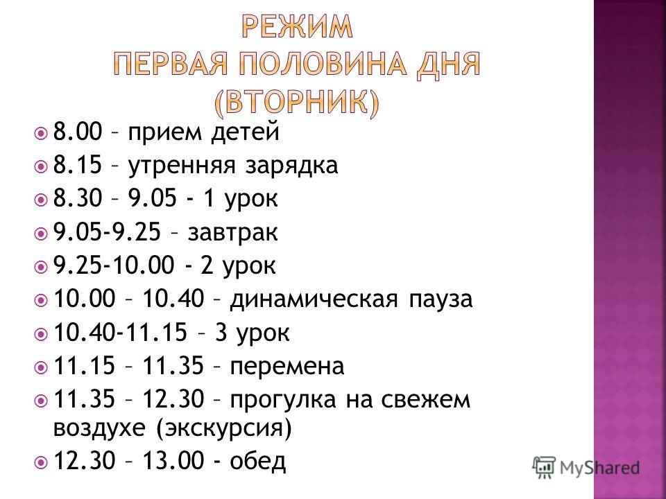 8.00 – прием детей 8.15 – утренняя зарядка 8.30 – 9.05 - 1 урок 9.05-9.25 – завтрак 9.25-10.00 - 2 урок 10.00 – 10.40 – динамическая пауза 10.40-11.15 – 3 урок 11.15 – 11.35 – перемена 11.35 – 12.30 – прогулка на свежем воздухе (экскурсия) 12.30 – 13