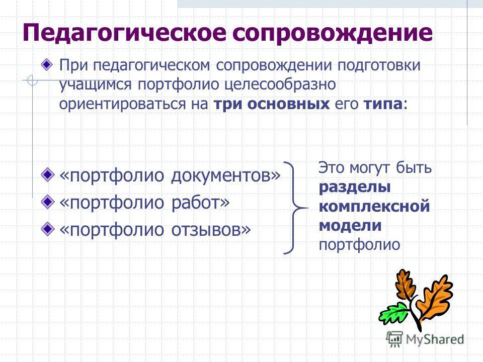 Педагогическое сопровождение При педагогическом сопровождении подготовки учащимся портфолио целесообразно ориентироваться на три основных его типа: «портфолио документов» «портфолио работ» «портфолио отзывов» Это могут быть разделы комплексной модели