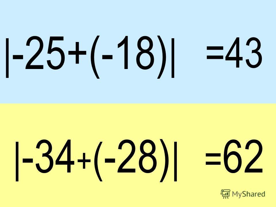 | -25+(-18) | | -34 + ( -28) | =43 = 62
