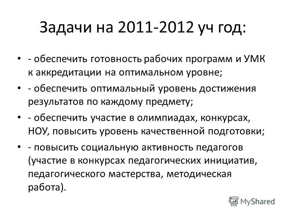 Задачи на 2011-2012 уч год: - обеспечить готовность рабочих программ и УМК к аккредитации на оптимальном уровне; - обеспечить оптимальный уровень достижения результатов по каждому предмету; - обеспечить участие в олимпиадах, конкурсах, НОУ, повысить
