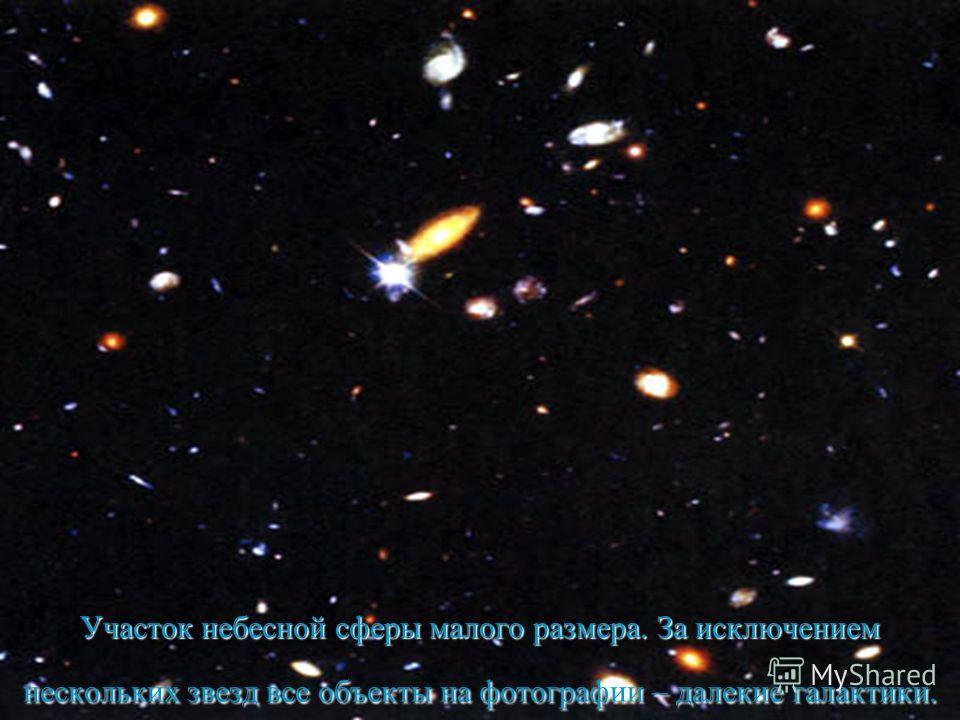 Участок небесной сферы малого размера. За исключением нескольких звезд все объекты на фотографии – далекие галактики.