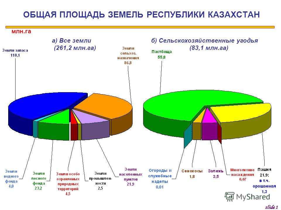 ОБЩАЯ ПЛОЩАДЬ ЗЕМЕЛЬ РЕСПУБЛИКИ КАЗАХСТАН млн.га а) Все земли (261,2 млн.га) б) Сельскохозяйственные угодья (83,1 млн.га) slide 1