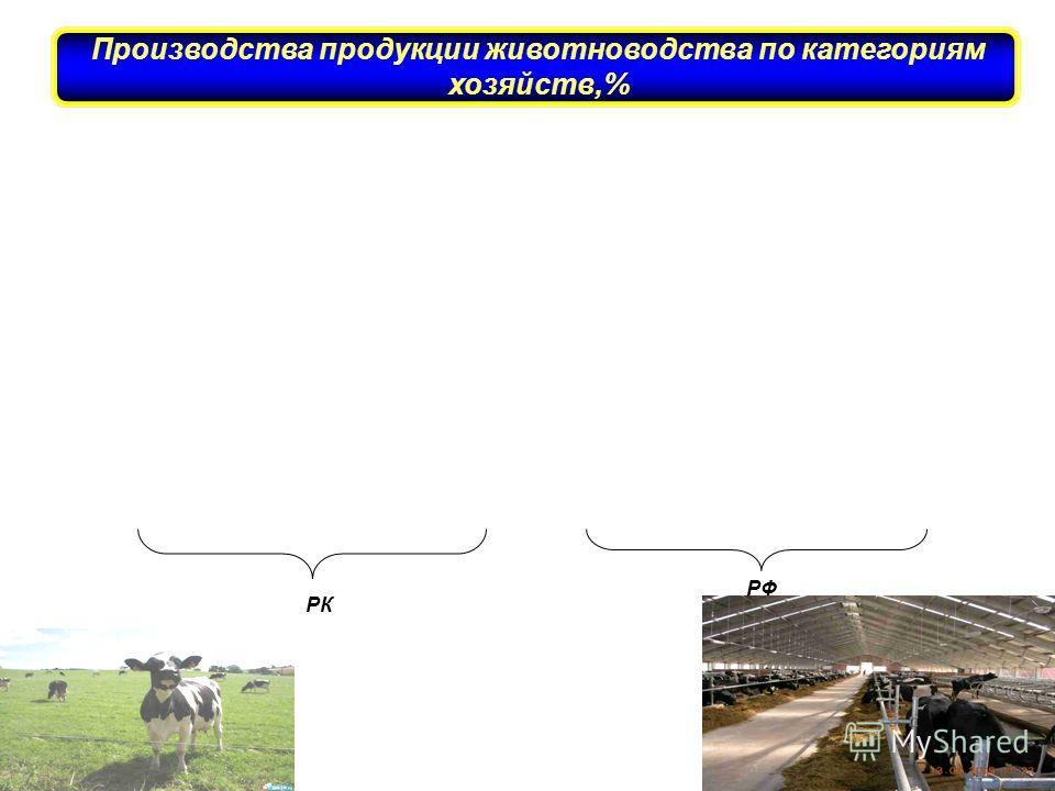РК РФ Производства продукции животноводства по категориям хозяйств,% слайд 8