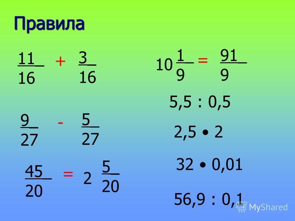 Правила 11_ 16 3_ 16 + 9_ 27 5_ 27 - 45_ 20 5_ 20 = 2 1_ 9 91_ 9 = 10 5,5 : 0,5 2,5 2 32 0,01 56,9 : 0,1