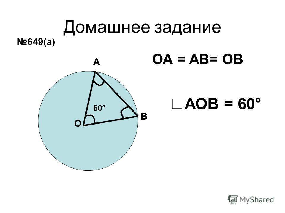 Домашнее задание А В О ОА = АВ= ОВ 60° АОВ = 60° 649(а)