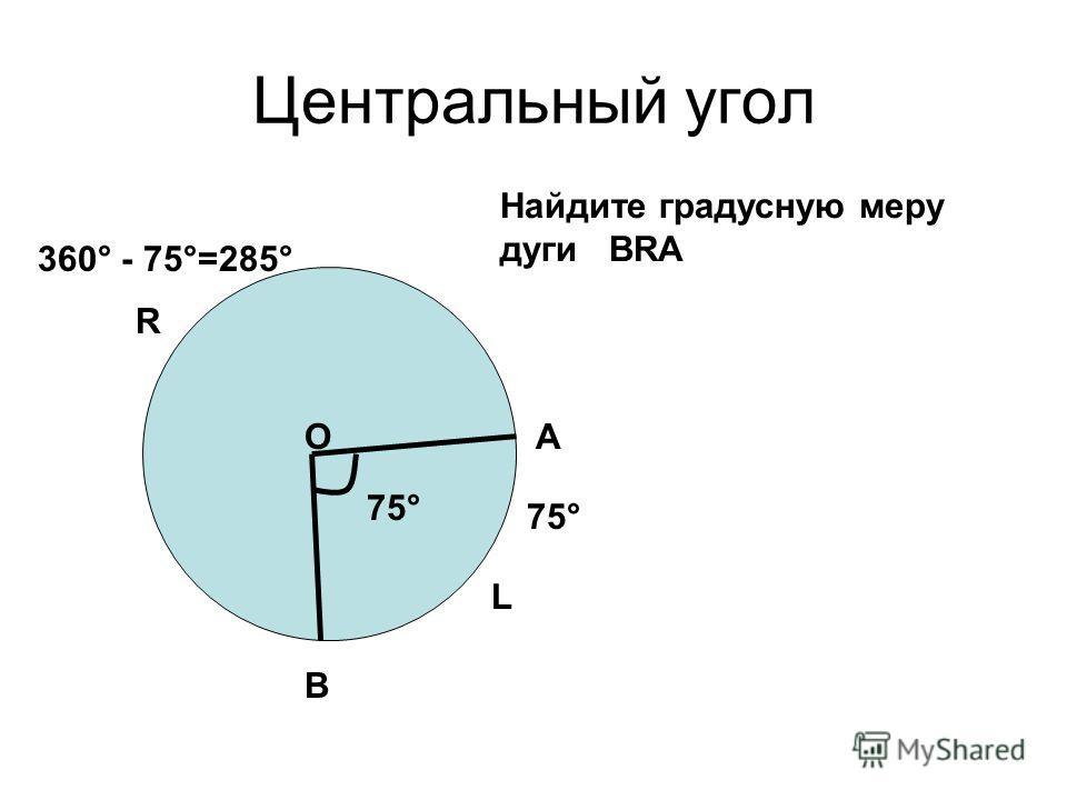 Центральный угол L А В О R Найдите градусную меру дуги ВRА 75° 360° - 75°=285°