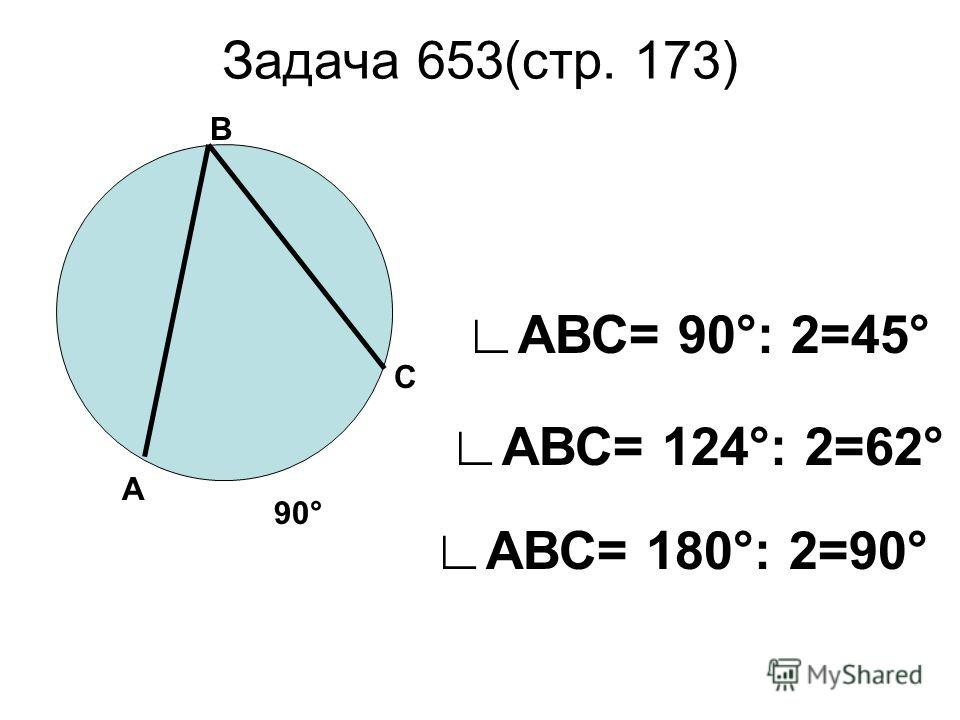 Задача 653(стр. 173) В А С 90° АВС= 180°: 2=90° АВС= 124°: 2=62° АВС= 90°: 2=45°