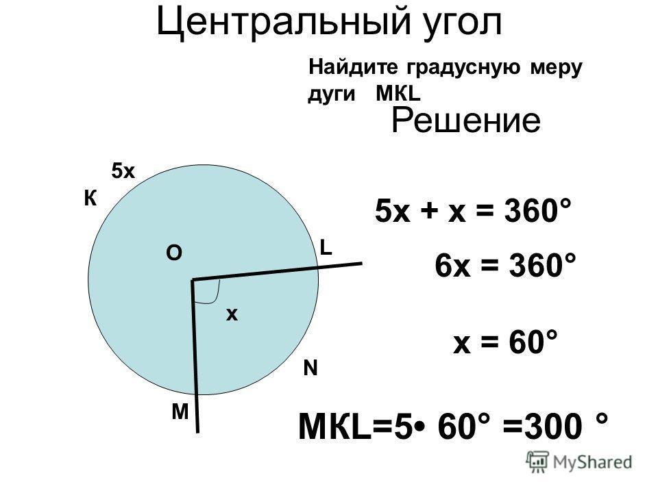 Центральный угол N L М О К Найдите градусную меру дуги МКL 5х х Решение 6х = 360° 5х + х = 360° х = 60° МКL=5 60° =300 °