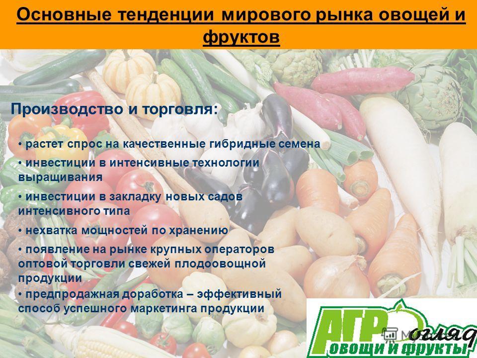 Основные тенденции мирового рынка овощей и фруктов Производство и торговля: растет спрос на качественные гибридные семена инвестиции в интенсивные технологии выращивания инвестиции в закладку новых садов интенсивного типа нехватка мощностей по хранен