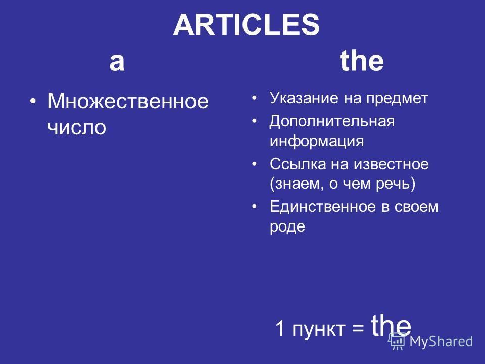 ARTICLES a the Множественное число Указание на предмет Дополнительная информация Ссылка на известное (знаем, о чем речь) Единственное в своем роде 1 пункт = the