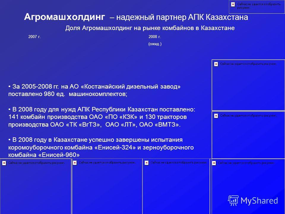 Агромашхолдинг – надежный партнер АПК Казахстана Доля Агромашхолдинг на рынке комбайнов в Казахстане 2007 г.2008 г. (ожид.) За 2005-2008 гг. на АО «Костанайский дизельный завод» поставлено 980 ед. машинокомплектов; В 2008 году для нужд АПК Республики