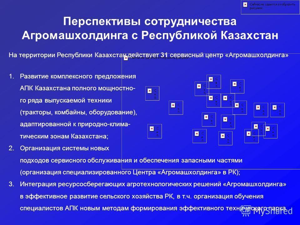 Перспективы сотрудничества Агромашхолдинга с Республикой Казахстан На территории Республики Казахстан действует 31 сервисный центр «Агромашхолдинга» 1.Развитие комплексного предложения АПК Казахстана полного мощностно- го ряда выпускаемой техники (тр
