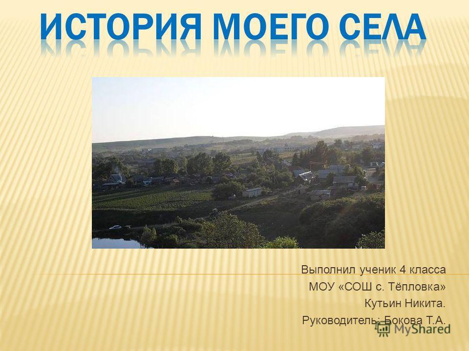 Выполнил ученик 4 класса МОУ «СОШ с. Тёпловка» Кутьин Никита. Руководитель: Бокова Т.А.