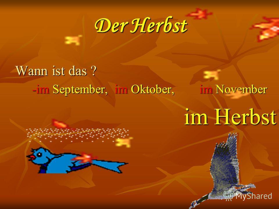 Der Herbst Wann ist das ? -im September, im Oktober, im November -im September, im Oktober, im November im Herbst