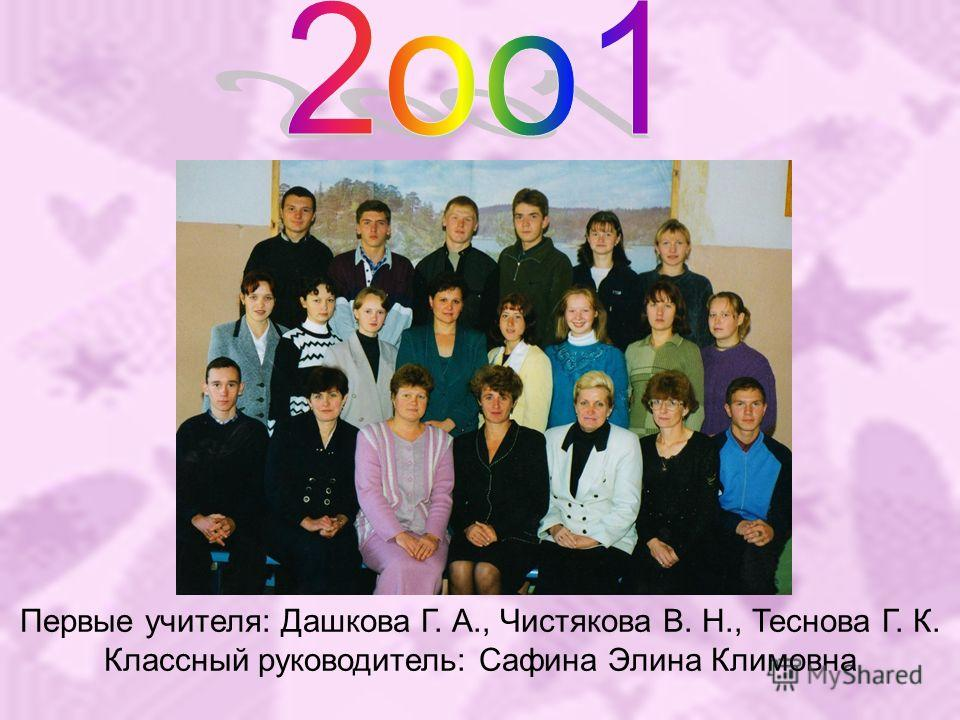 Первые учителя: Дашкова Г. А., Чистякова В. Н., Теснова Г. К. Классный руководитель: Сафина Элина Климовна