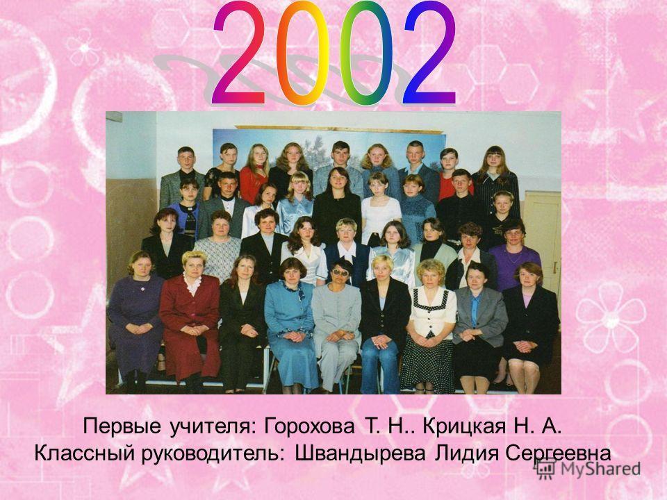 Первые учителя: Горохова Т. Н.. Крицкая Н. А. Классный руководитель: Швандырева Лидия Сергеевна