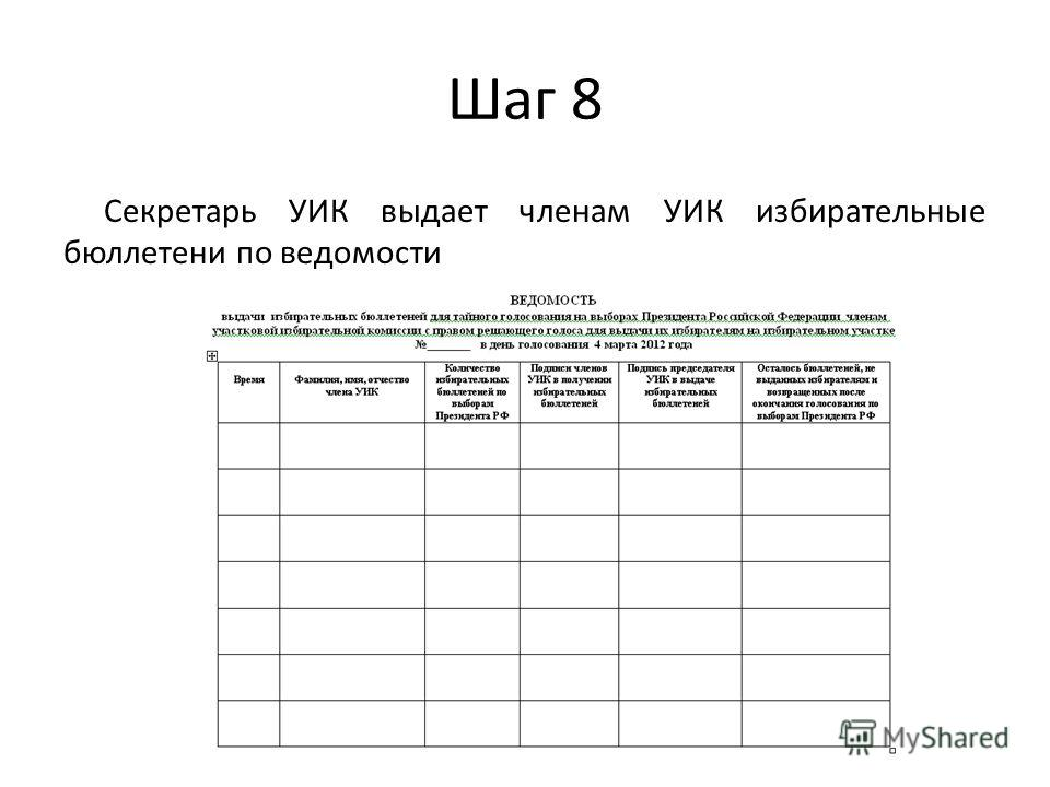 Шаг 8 Секретарь УИК выдает членам УИК избирательные бюллетени по ведомости