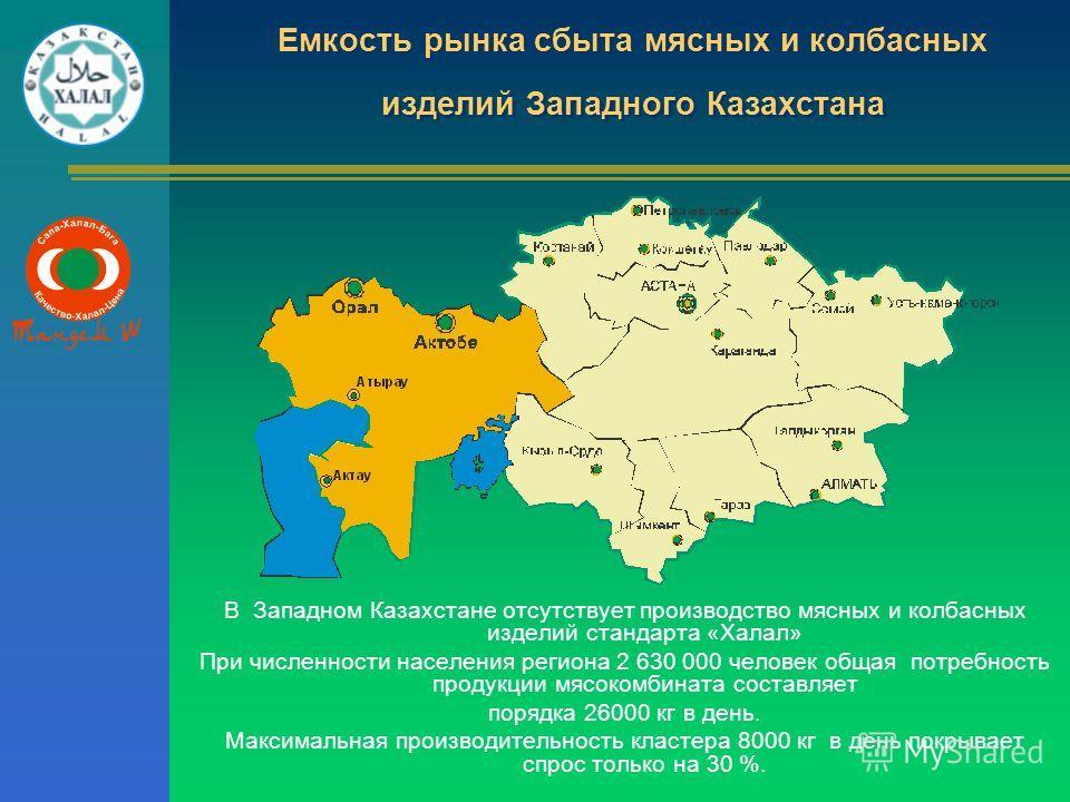 Емкость рынка сбыта мясных и колбасных изделий Западного Казахстана В Западном Казахстане отсутствует производство мясных и колбасных изделий стандарта «Халал» При численности населения региона 2 630 000 человек общая потребность продукции мясокомбин