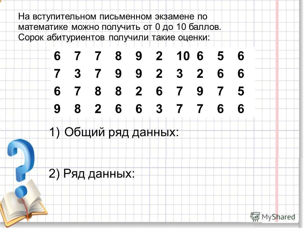 На вступительном письменном экзамене по математике можно получить от 0 до 10 баллов. Сорок абитуриентов получили такие оценки: 67789210656 7379923266 6788267975 9826637766 1)Общий ряд данных: 2) Ряд данных: