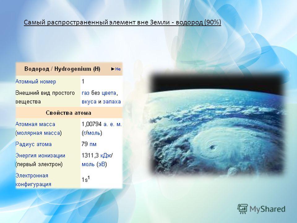 Самый распространенный элемент вне Земли - водород (90%)