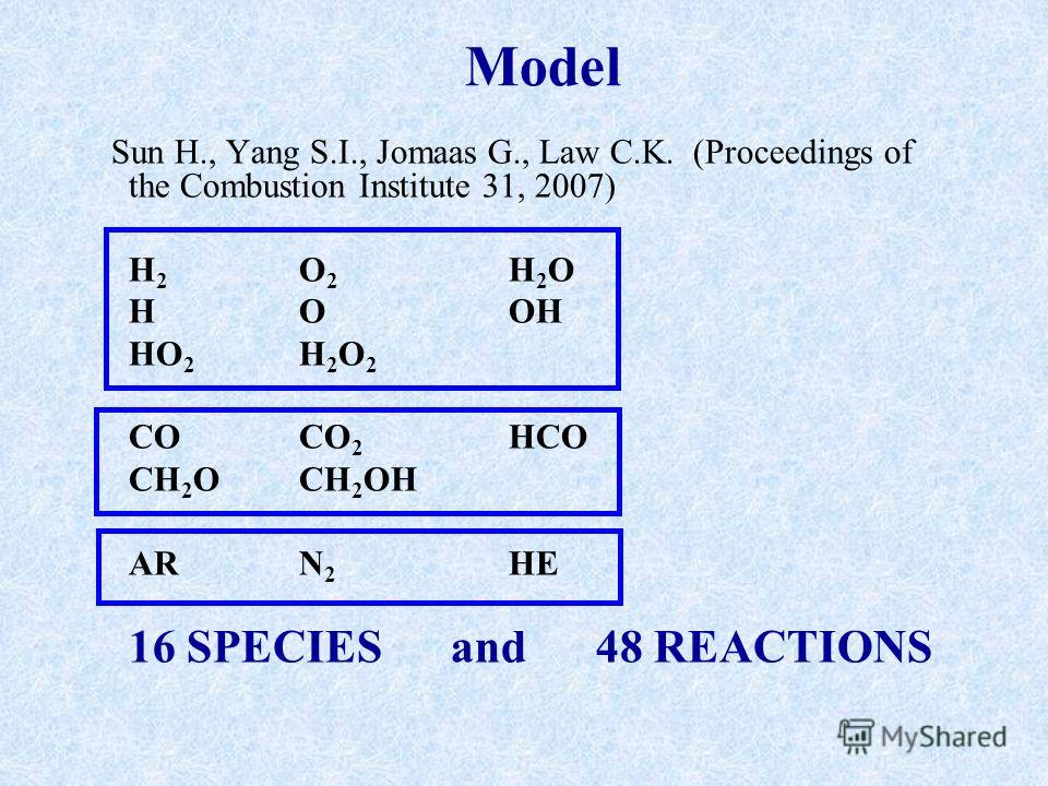 Model Sun H., Yang S.I., Jomaas G., Law C.K. (Proceedings of the Combustion Institute 31, 2007) H 2 O 2 H 2 O H O OH HO 2 H 2 O 2 CO CO 2 HCO CH 2 O CH 2 OH AR N 2 HE 16 SPECIES and 48 REACTIONS