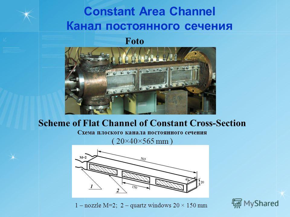 Constant Area Channel Канал постоянного сечения Scheme of Flat Channel of Constant Cross-Section Схема плоского канала постоянного сечения ( 20×40×565 mm ) Foto 1 – nozzle М=2; 2 – quartz windows 20 × 150 mm