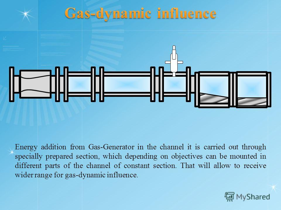 Energy addition from Gas-Generator in the channel it is carried out through specially prepared section, which depending on objectives can be mounted in different parts of the channel of constant section. That will allow to receive wider range for gas