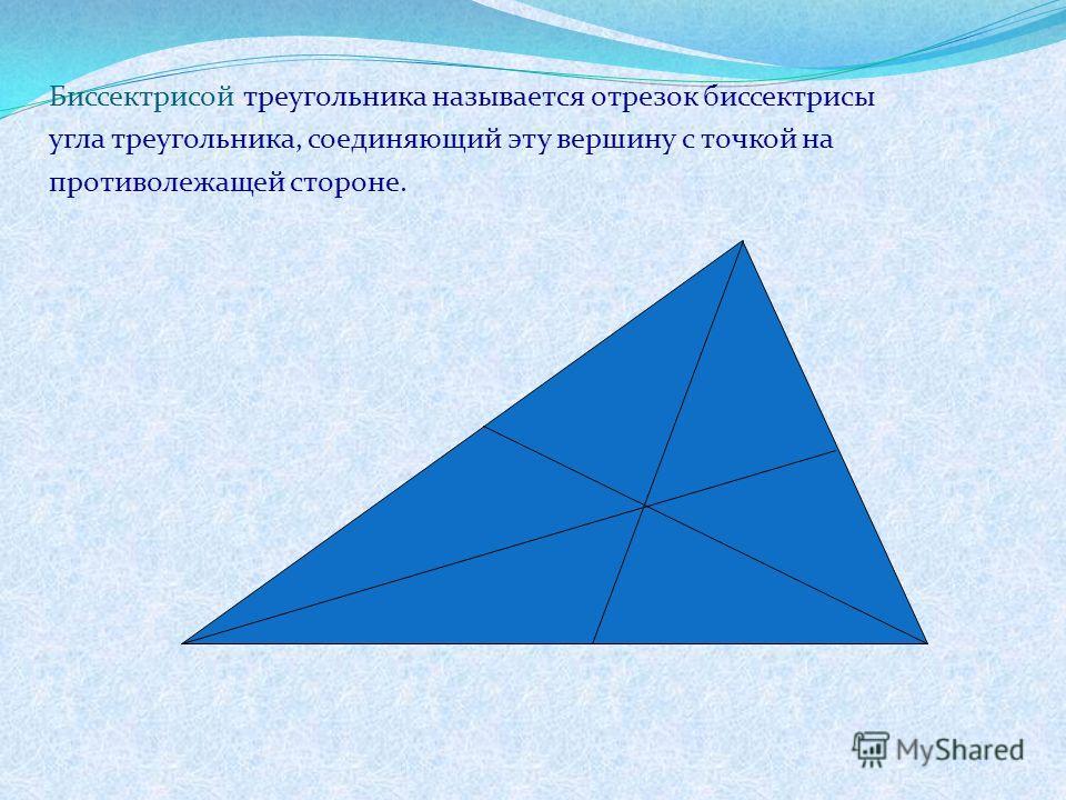 Биссектрисой треугольника называется отрезок биссектрисы угла треугольника, соединяющий эту вершину с точкой на противолежащей стороне.