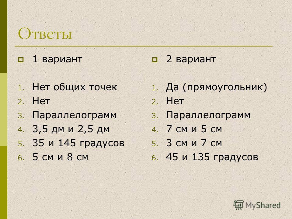 Ответы 1 вариант 1. Нет общих точек 2. Нет 3. Параллелограмм 4. 3,5 дм и 2,5 дм 5. 35 и 145 градусов 6. 5 см и 8 см 2 вариант 1. Да (прямоугольник) 2. Нет 3. Параллелограмм 4. 7 см и 5 см 5. 3 см и 7 см 6. 45 и 135 градусов