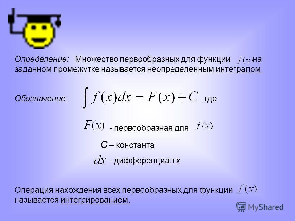 Определение: Множество первообразных для функции на заданном промежутке называется неопределенным интегралом. Обозначение:,где - первообразная для С – константа - дифференциал х Операция нахождения всех первообразных для функции называется интегриров