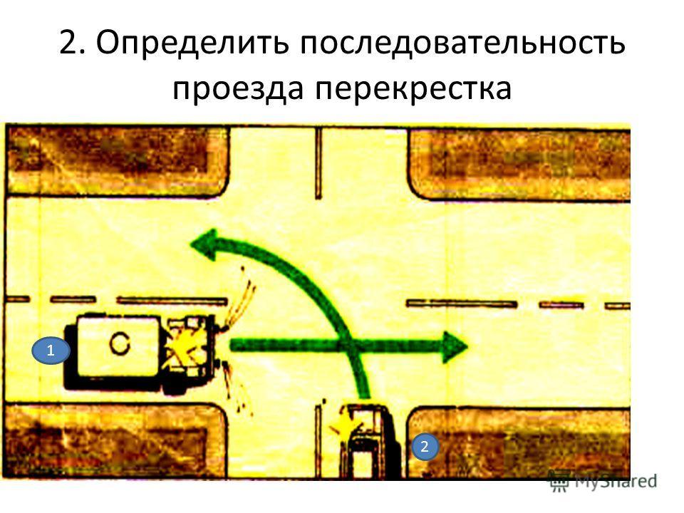 2. Определить последовательность проезда перекрестка 1 1 2
