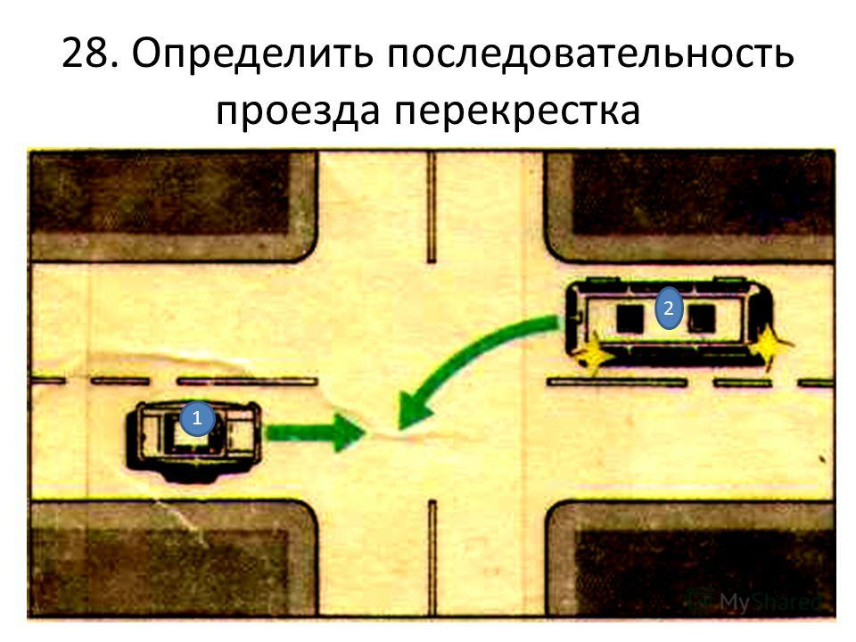 28. Определить последовательность проезда перекрестка 1 2