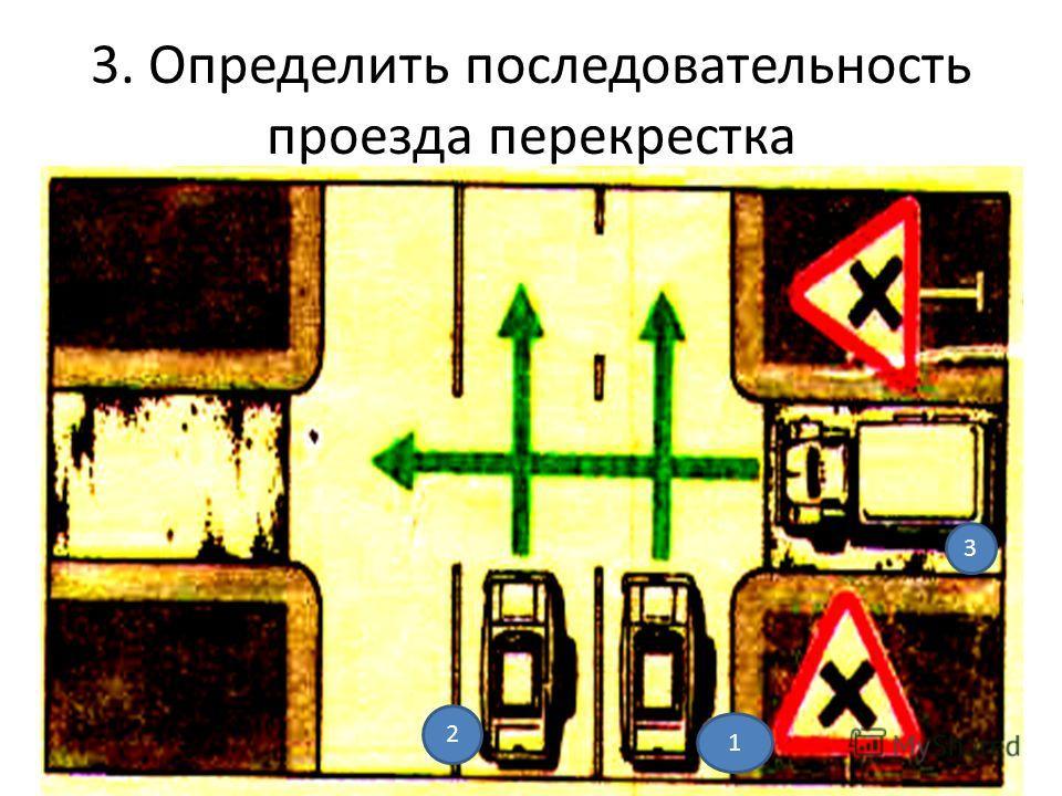 3. Определить последовательность проезда перекрестка 1 2 3