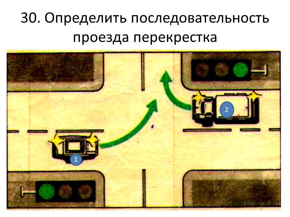 30. Определить последовательность проезда перекрестка 1 2